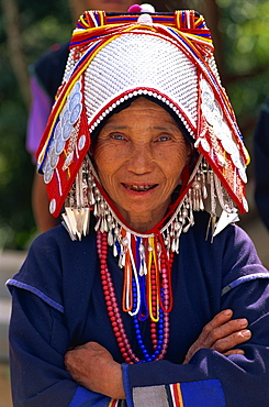 Akha hilltribe woman wearing traditional silver headpiece and costume, Chiang Rai, Golden Triangle, Thailand, Southeast Asia, Asia