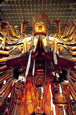 Statue of Guanyin (Goddess of Mercy), at 22 metres the largest wooden statue in the world, Temple of Universal Peace dating from 1755, UNESCO World Heritage Site, Chengde, Hebei Province, China, Asia