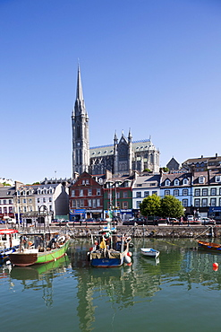 Cobh Harbour and St. Colman's Cathedral, Cobh, County Cork, Munster, Republic of Ireland, Europe