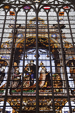 Stained glass window, St. Michel Cathedral, Brussels, Belgium, Europe