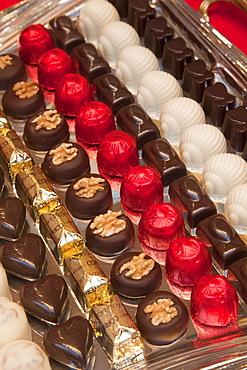 Chocolate shop display, Brussels, Belgium, Europe