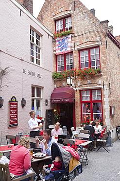 Pub scene, Bruges, Belgium, Europe