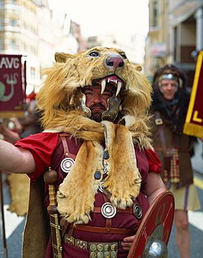 Man in Roman Legionaires costume, Northumbria, England, United Kingdom, Europe