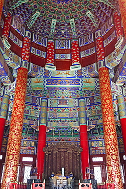 Interior of the Hall of Prayer for Good Harvests, Temple of Heaven (Tiantan), UNESCO World Heritage Site, Beijing, China, Asia
