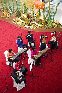 Orchestra performance in IFC Building, Hong Kong, China, Asia