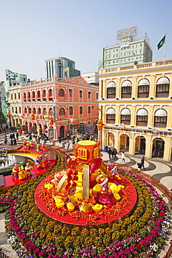 Senado Square with display of Chinese New Year decorations, Macau, China, Asia