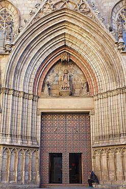 Entrance to Santa Maria Del Mar church, Gothic Quarter, Barcelona, Catalonia, Spain, Europe