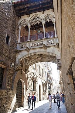 Bridge in Bishops Street, The Gothic Quarter, Barcelona, Catalonia, Spain, Europe