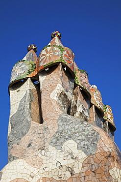 Rooftop chimneys, Casa Batllo, UNESCO World Heritage Site, Barcelona, Catalonia, Spain, Europe