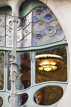 Window detail, Casa Batllo, UNESCO World Heritage Site, Barcelona, Catalonia, Spain, Europe