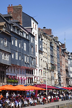 Restaurants and outdoor cafes, Honfleur, Normandy, France, Europe