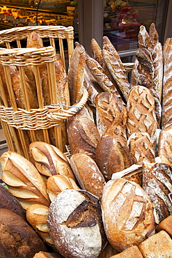 Display in bread shop, Honfleur, Normandy, France, Europe