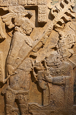 Maya lintel from Yaxchilan in Mexico dating from between 600 and 900 AD,  British Museum, Bloomsbury, London, England, United Kingdom, Europe