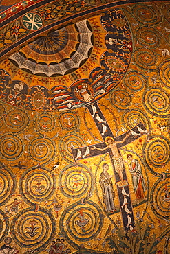 Apse mosaic dating from the 12th century, Basilica of San Clemente, Rome, Lazio, Italy, Europe