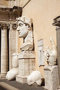 Remains of Emperor Constantine statue, Capitoline Museum, The Capitol, Rome, Lazio, Italy, Europe