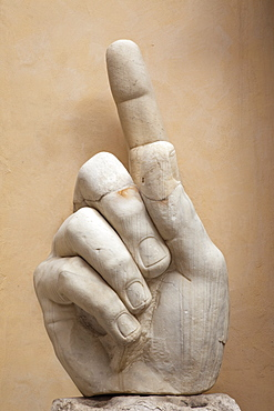 Giant hand from the remains of the Emperor Constantine statue, Capitoline Museum, The Capitol, Rome, Lazio, Italy, Europe