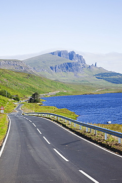 Road and Old Man of Storr mountain, Trotternish Peninsula, Isle of Skye, Inner Hebrides, Scotland, United Kingdom, Europe