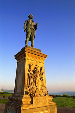 Statue of Captain Cook, Whitby, North Yorkshire, Yorkshire, England, United Kingdom, Europe