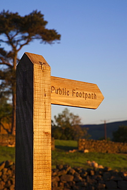 Public footpath sign, Swaledale, Yorkshire Dales National Park, Yorkshire, England, United Kingdom, Europe
