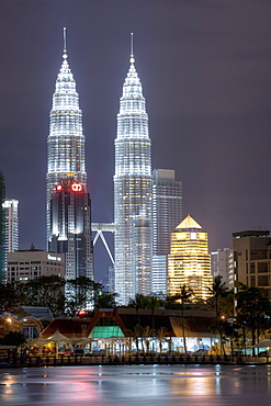 Petronas Towers dominate the Kuala Lumpur skyline, Titiwangsa in Kuala Lumpur, Malaysia, Southeast Asia, Asia
