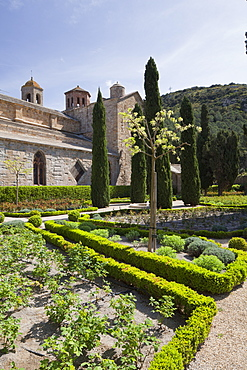 Rear of the Abbey Church from The Rose Garden in Fontfroide Abbey, Languedoc-Roussillon, France, Europe
