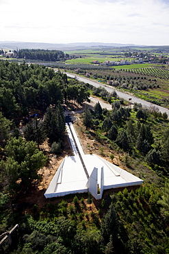 Aerial Lechi monument in the village of Mishmar Ayalon, Israel