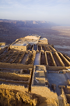 Aerial archeologic site of Masada in the Judean Desert, Israel