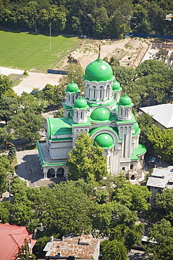Aerial photograph of a Romanian church in Bucharest Romania, Romania