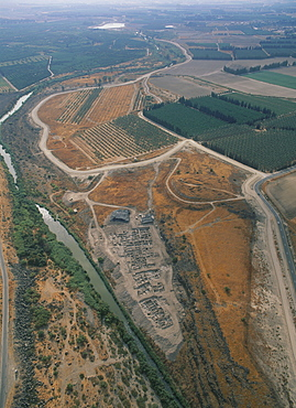 Aerial photograph of th Dover excavations in the Jordan valley, Israel