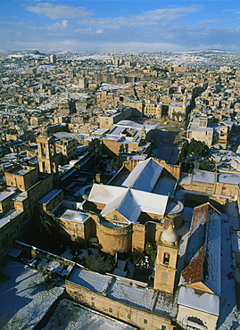 Aerial church of nativity in the modern town of Bethlehem after snow fall, Israel