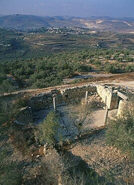 Aerial view of an ancient chapel of John the Baptist at Samaria, Israel