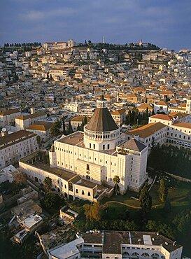 Aerial church of Annunciation at Nazareth, Israel