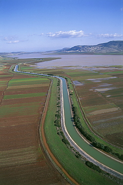Aerial photograph of an open canal of the National Water conduit in Beit Netofa valley in the Lower Galilee, Israel