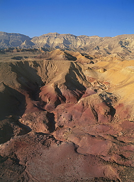 Aerial colorful sandstone in the Ramon crater in the Central Negev desert, Israel