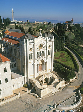 Aerial Church of the Adolescent Jesus in the modern city of Nazareth in the Lower Galilee, Israel