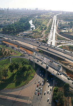 Aerial Ayalon highway in Tel Aviv, Israel
