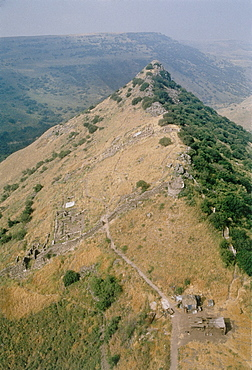 Aerial photograph of the archeologic site of Gamla in the Southern Golan Heights dated to early Roman period, Israel
