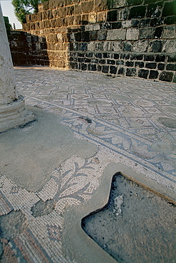 Photograph of the Mosaic floor of the archeologic site of Kursi in Southern Golan Heights, Israel