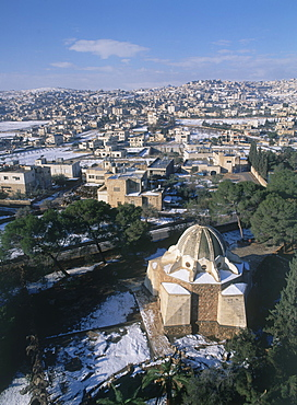 Aerial photograph of the Judean city of Bethlehem, Israel