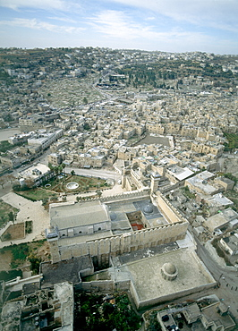 Aerial photograph of the Cave of Machpelah in the modern city of Hevron Judea, Israel