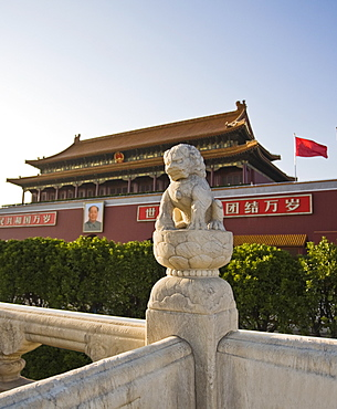 Stone lion statue at the main entrance to The Forbidden City, Chairman Mao Tsedong's portrait hanging above the doorway, Beijing, China, Asia