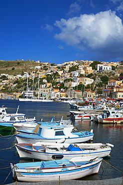 Gialos harbour, Symi island, Dodecanese, Greek Islands, Greece, Europe