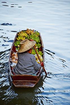 Floating market, Damnoen Saduak, Ratchaburi Province, Thailand, Southeast Asia, Asiaminor curves adjustments, removed rubbish in water