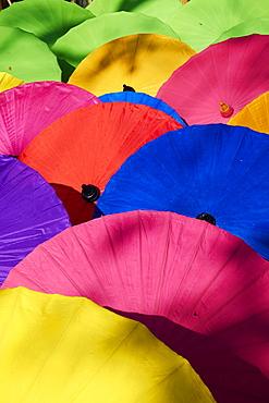 Umbrellas at Borsang Handicraft Village, Chiang Mai, Thailand, Southeast Asia, Asia