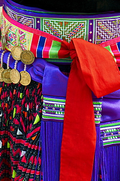 Detail of traditional dress of Hmong woman, Lao New Year Festival, Luang Prabang, Laos, Indochina, Southeast Asia, Asia