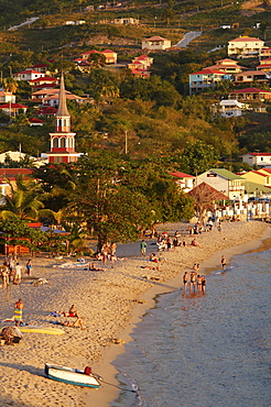 Beach and church, Grande Anse, Les Anses d'Arlet, Martinique, Windward Islands, French Overseas Department, West Indies, Caribbean, Central America