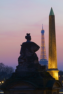 Place de la Concorde and Eiffel Tower in the evening, Paris, France, Europe