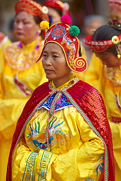 Vietnamese woman in religious and ceremonial costume, Vietnam, Indochina, Southeast Asia, Asia
