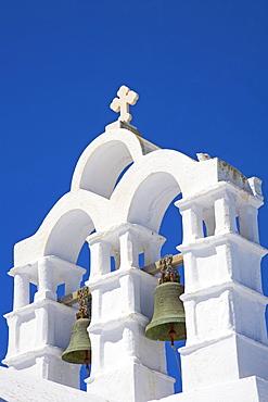 Bells on church, Chora, Amorgos, Cyclades, Aegean, Greek Islands, Greece, Europe
