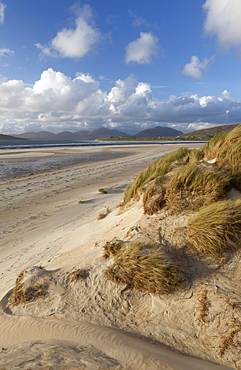 A beautiful but windy late summer evening at Seilebost beach, Isle of Harris, Outer Hebrides, Scotland, United Kingdom, Europe